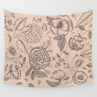 vintage flowers Wall Tapestries featuring VINTAGE FLOWERS by Indi Maverick