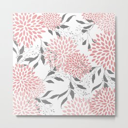 Floral Prints, Leaves and Blooms, Pink, Gray and White Metal Print