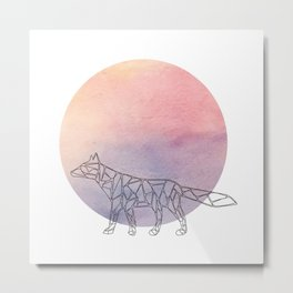 Geometric Fox In Thin Stipes On Circle Background Metal Print