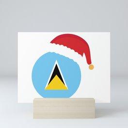 Saint Lucia Christmas sant claus flag designs  Mini Art Print
