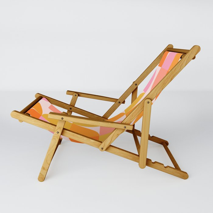 Mid Century Mod Geometry in Pink and Orange Sling Chair