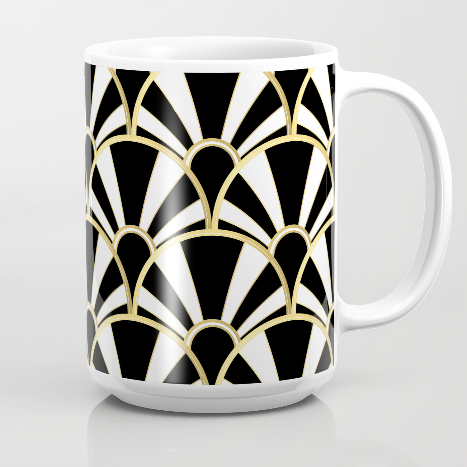 94764428de8 Black, White and Gold Classic Art Deco Fan Pattern Coffee Mug