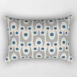 Mid Century Modern Abstract Pattern 149 Gray and Blue Rectangular Pillow