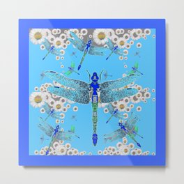 BLUE DRAGONFLIES LILAC WHITE DAISY FLOWERS  ART Metal Print