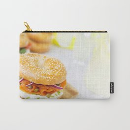 Bagel with salmon and cream cheese, brightly lit Carry-All Pouch