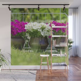 Garden of pink and white flowers Wall Mural
