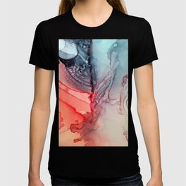 Undertow Meets Lava- Alcohol Ink Painting T-shirt