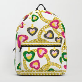 Jewelry Pattern with Gold Chains Backpack