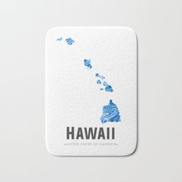 Hawaii - State Map Art - Abstract Map - Blue Bath Mat