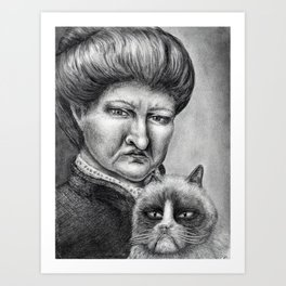 Untitled - Charcoal Drawing - pets, cat, grouchy, sad, angry, funny, silly Art Print