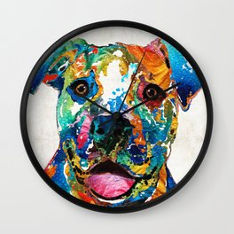 Colorful Dog Pit Bull Art - Happy - By Sharon Cummings Wall Clock