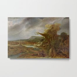 Stolen Art - Landscape with an Obelisk by Govert Flinck Metal Print