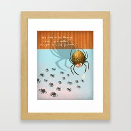 Scared spider Framed Art Print