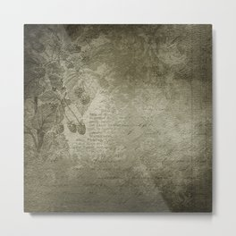 Antique Floral Vintage Grunge Grey Metal Print
