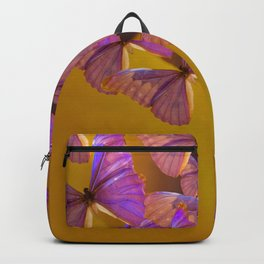Shiny Purple Butterflies On A Ocher Color Background #decor #society6 Backpack