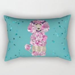 Fun Paint Splatter Poodle on Teal Rectangular Pillow