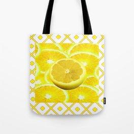 Yellow Grapefruit Pattern Art Tote Bag
