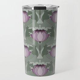 Lavender Flowers Art Nouveau Inspired Floral Pattern Travel Mug