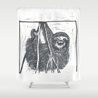sloth Shower Curtains featuring Sloth by Lisa C Birmingham