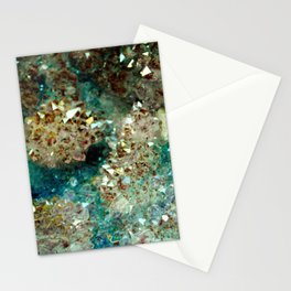 SPARKLING GOLD AND TURQUOISE CRYSTAL Stationery Cards