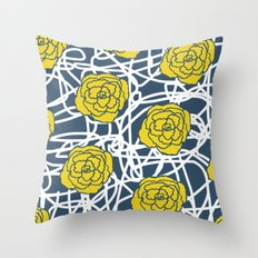 YELLOW ROSE SQUIGGLE Throw Pillow