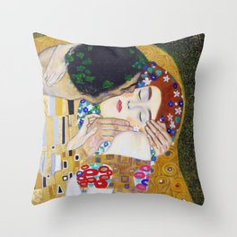 The Kiss by Kustav Klimt - Version by Nymphainna Throw Pillow