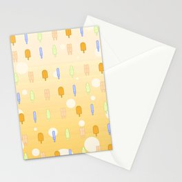 Kawaii Popsicles Yellow Stationery Cards