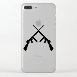 Crossed thompson submachine gun silhouette on transparent background Clear iPhone Case