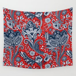 Red White & Blue Floral Paisley Wall Tapestry