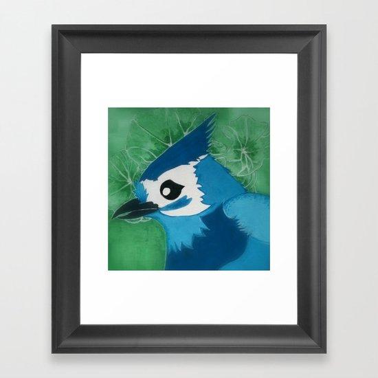Titmouse in Blue Framed Art Print
