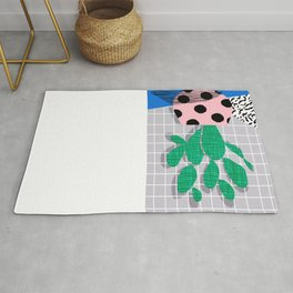 Iffy - cactus desert palm springs socal memphis hipster neon art print abstract grid pattern plant Rug