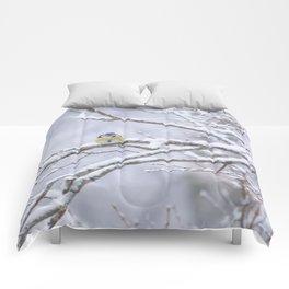 Blue Tit On A Snowy Branch Winter Scene #decor #society6 Comforters