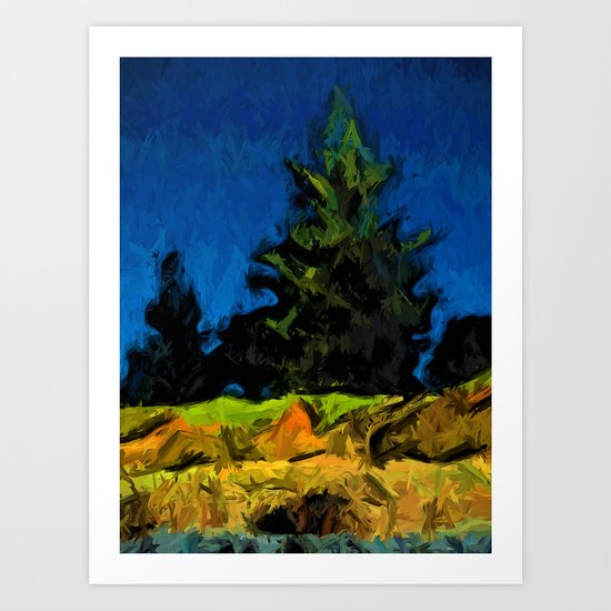Green Pine Tree in the Blue Wind Art Print
