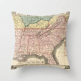 Map of the Southern States during the Civil War (1863) Throw Pillow