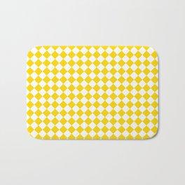 Small Diamonds - White and Gold Yellow Bath Mat
