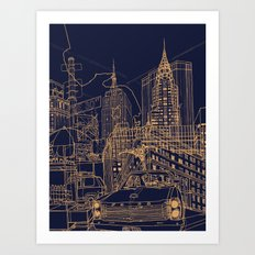 New York! Night Art Print