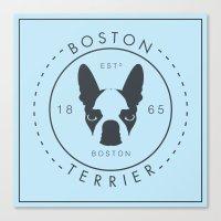 boston terrier Canvas Prints featuring Boston Terrier by Lulo The Boston Terrier