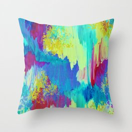SUGARY GOODNESS - Lovely Cotton Candy Sweet Dreams Colorful Rainbow Abstract Chevron Ikat Painting Throw Pillow