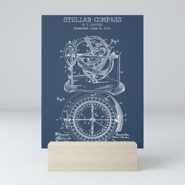 Stellar Compass blueprint Mini Art Print