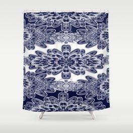 Blue Floral Damask Shower Curtain