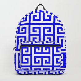 Greek Key (Blue & White Pattern) Backpack