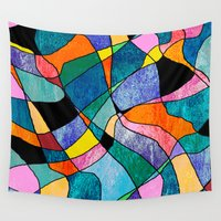 plaid Wall Tapestries featuring Pretty Plaid by Kay Weber