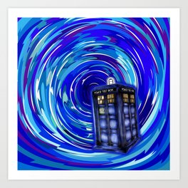Blue Phone Box with Swirls Art Print