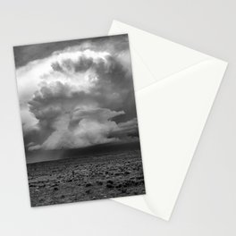 Take a Deep Breath - Storm Cloud Explodes on Horizon in Oklahoma Panhandle in Black and White Stationery Cards