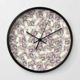 Giant money background 50 pound notes / 3D render of thousands of 50 pound notes Wall Clock