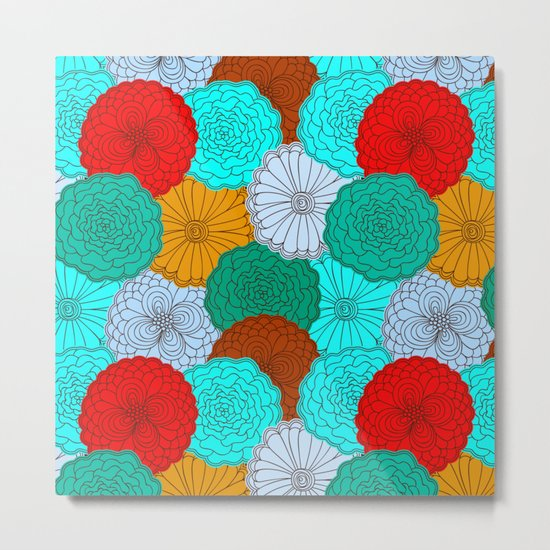 Bright Flowers, pattern in red, teal, green, violet, and gold Metal Print