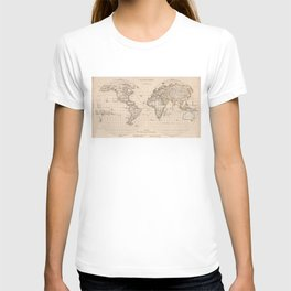Vintage Map of The World (1827) 2 T-shirt