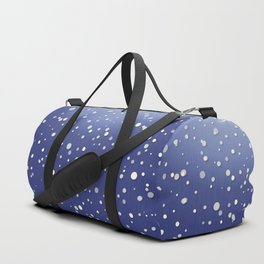 Winter Snow Navy Blue Ombre Background Duffle Bag