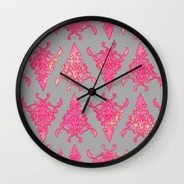 Arabesque Doodle Pattern on light grey Wall Clock