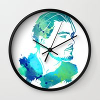leonardo dicaprio Wall Clocks featuring DiCaprio by BIG Colours